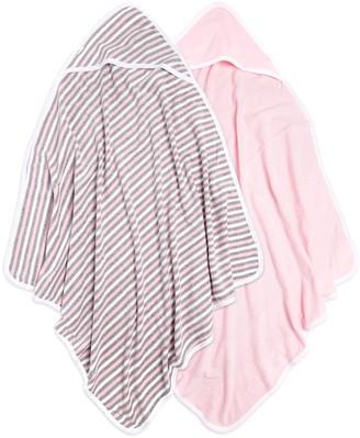 Burt's Bees Set of 2 Baby Single Ply Multi Stripe Organic Hooded Towel