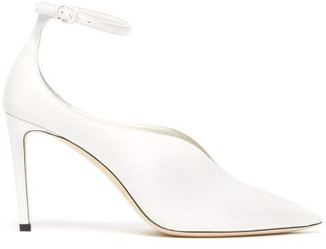 Jimmy Choo Sonia 85 Leather Ankle Strap Pumps - Womens - White
