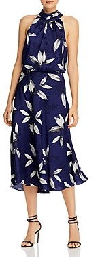 Adrianna Papell Botanical Leaf Print Midi Dress