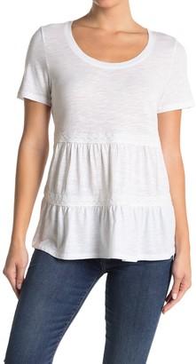Caslon Lace Trim Scoop Neck T-Shirt