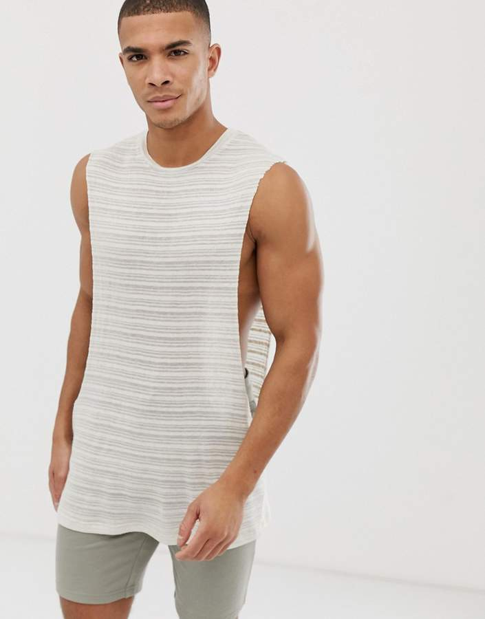 Asos Design DESIGN relaxed sleeveless t-shirt with extreme dropped armhole in fancy linen