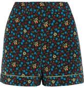 Maje Floral-print Poplin Shorts - Blue