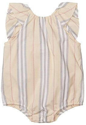 BURBERRY KIDS Debbie Stripe Overalls (Infant) (Pale Stone Stripe) Girl's Jumpsuit & Rompers One Piece