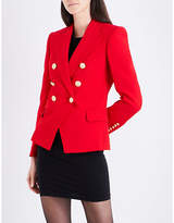Balmain Ladies Red Double-Breasted Crepe Blazer