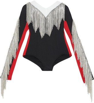 Burberry Fringe Detail Tri-tone Stretch Jersey Bodysuit