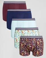 Asos Trunks With Floral Print Microfibre & Stripe Waistband 5 Pack