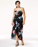 City Chic Trendy Plus Size Strapless Faux-Wrap Gown