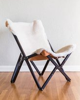 Texas Rover Company Dollie Noir Ivory Sheepskin Chair