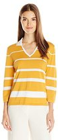 Anne Klein Women's Collared Stripe Sweater Top