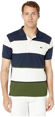 Lacoste Short Sleeve Technical Pique Color Block Polo (Caper Bush/Geode/Navy Blue) Men's Clothing