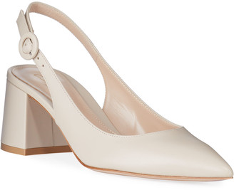 Gianvito Rossi Leather Block-Heel Point-Toe Slingback Pumps