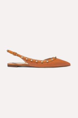 Valentino Garavani The Rockstud Textured-leather Slingback Flats - Tan
