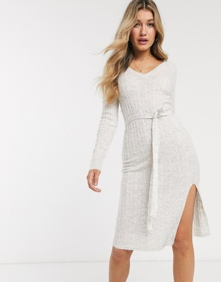 Abercrombie & Fitch knitted midi dress with tie belt