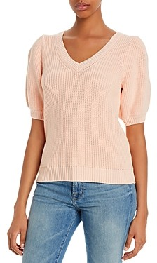 525 America V-Neck Puff-Sleeve Sweater