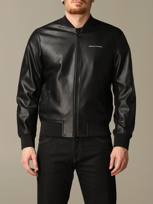 Armani Exchange Bomber In Synthetic Leather With Logo