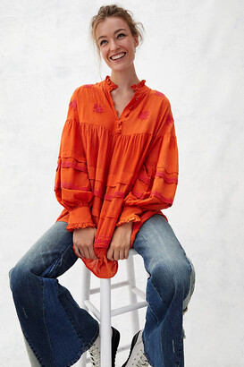 Anthropologie Jacqueline Tunic Blouse By in Orange Size XS