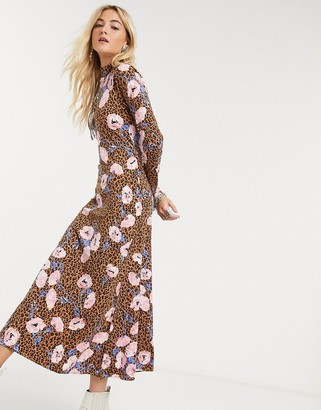 Free People retro romance midi dress in brown floral