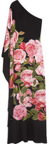 Dolce & Gabbana One-shoulder Floral-print Silk-charmeuse Gown - Black