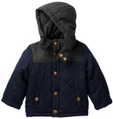 London Fog Diamond Quilted Brushed Poly Hooded Jacket (Baby Boys)