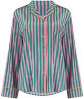 Wilson Sleepy Aurelie Silk Pyjama Shirt In Flamingo Stripe