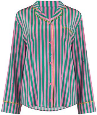 Sleepy Wilson Aurelie Silk Pyjama Shirt In Flamingo Stripe