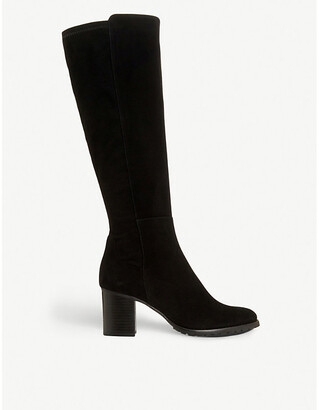 Dune Titaneum knee-high suede boots