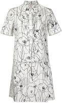 Jason Wu scribble flower print shirt dress - women - Cotton - 8