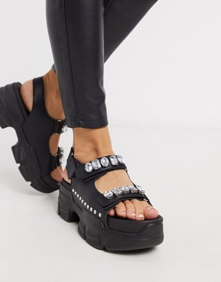 Truffle Collection sporty embellished sandal in black