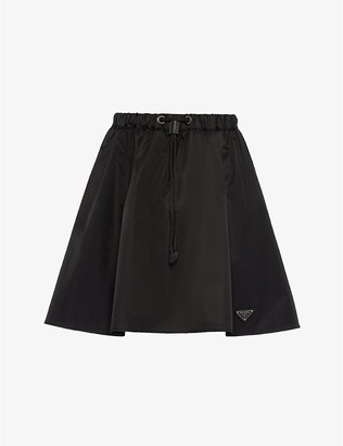 Prada Ladies Black Logo-Patch High-Waist Re-Nylon Gabardine Mini Skirt, Size: 6
