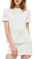 Topshop Women's Ruffle Sleeve Pointelle Knit Sweater
