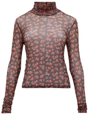 STAUD Roll-neck Mushroom-print Mesh Top - Womens - Black Multi