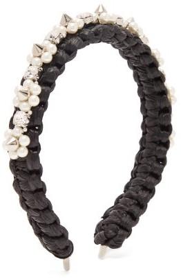 Simone Rocha Studded Crystal-embellished Raffia Headband - Womens - Black