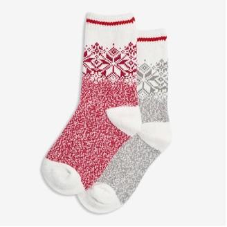 Joe Fresh Kid Girls' 2 Pack Soft Crew Socks, Cream (Size 11-2)