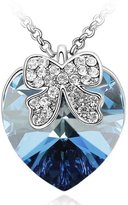 Dahlia Ribbon Bow Love Heart Shaped Swarovski Elements Crystal Rhodium Plated Necklace - Bermuda