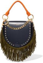 Sacai Horseshoe Suede-trimmed Studded Leather Shoulder Bag - Navy