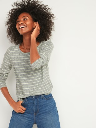 Old Navy Cozy Rib-Knit Striped Long-Sleeve Tee for Women