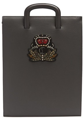 Christian Louboutin Trictrac Large Embellished Leather Document Holder - Grey