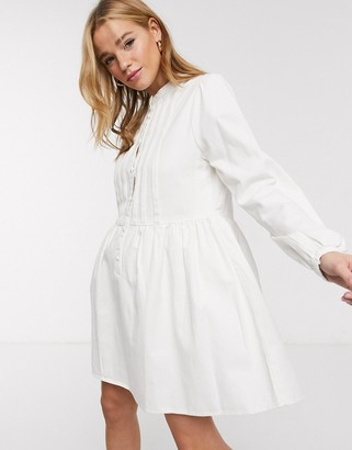 Asos DESIGN Denim pintuck smock dress in white