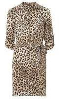 Dorothy Perkins Womens Brown Animal Print Zip Front Shirt Dress- Brown