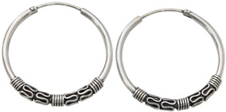 Novica Handmade Sterling Silver Hoop Earrings, 'Twist and Turn'