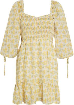 Faithfull The Brand Romina Dahlee Floral Print Linen Mini Dress