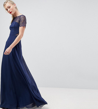 Asos Tall TALL Lace Insert Panelled Maxi Dress-Navy