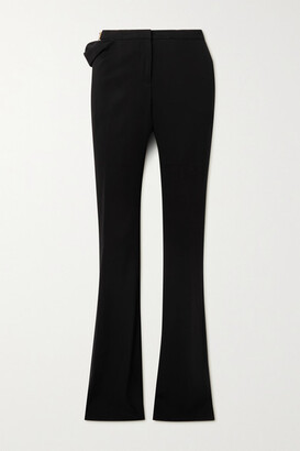 Versace - Embellished Cutout Jersey Flared Pants - Black