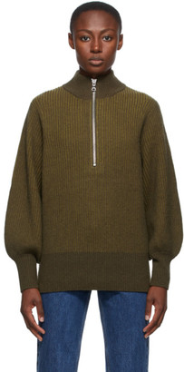 Won Hundred Green Wool Delaney Zip Up Sweater