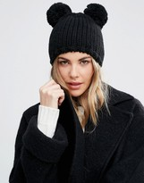 Helene Berman Double Pom Pom Knitted Beanie Hat