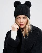 Helene Berman Double Pom Pom Knitted Beanie Hat