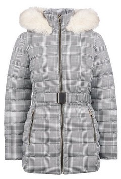 Dorothy Perkins Womens Grey Check Print Short Belted Padded Coat, Grey