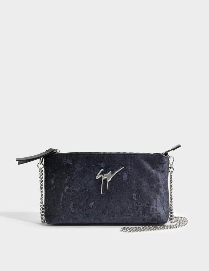 Giuseppe Zanotti Snob Clutch Bag in Black Leather