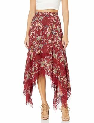 BCBGMAXAZRIA Women's Floral Toile Handkerchief Skirt Deep Red to S
