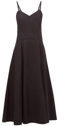 Three Graces London Aveline Cut-out Cotton-poplin Midi Dress - Black